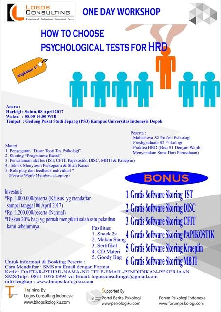 Alat Tes Psikologi Ui one day workshop on how to choose psychological tests for