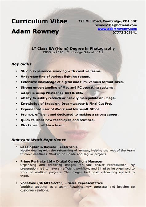 photography cv template exles of photography cv s ware jarrett