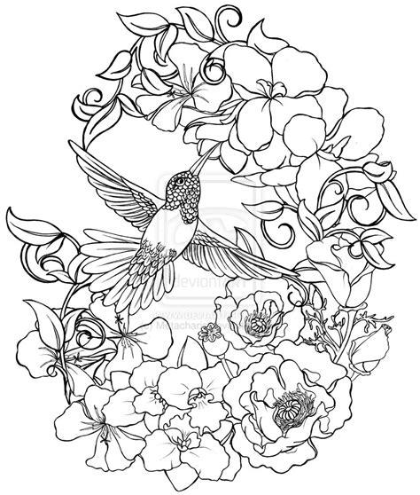tattoo flash coloring pages hummingbird with flowers tattoo by metacharis on