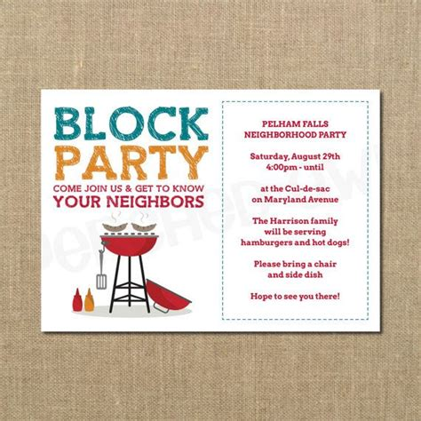 block invitation template neighborhood block cookout invitation by perchedowl