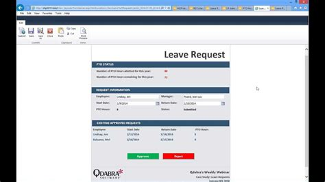 InfoPath: SharePoint Leave Request Forms: Jan 9, 2014