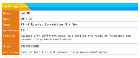 Termurah Jakemy 13 In 1 Ratchet Screwdriver For Diy Jm 6100 jakemy jm 6100 13in1 ratchet screwdriver kit