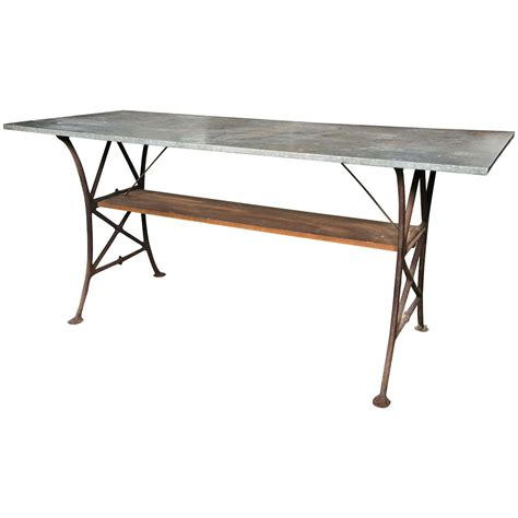 Tin Table by Industrial Tin Top Table With Wooden Shelf At 1stdibs