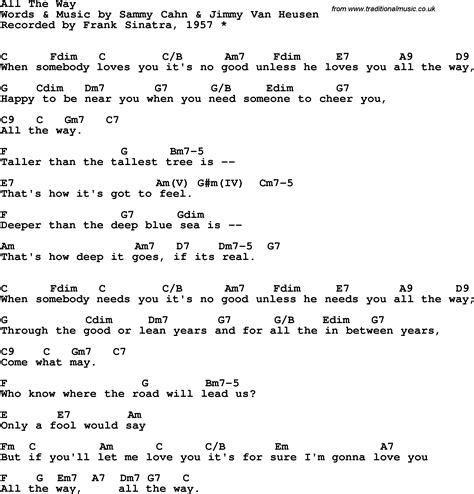 song lyrics with guitar chords for all the way frank