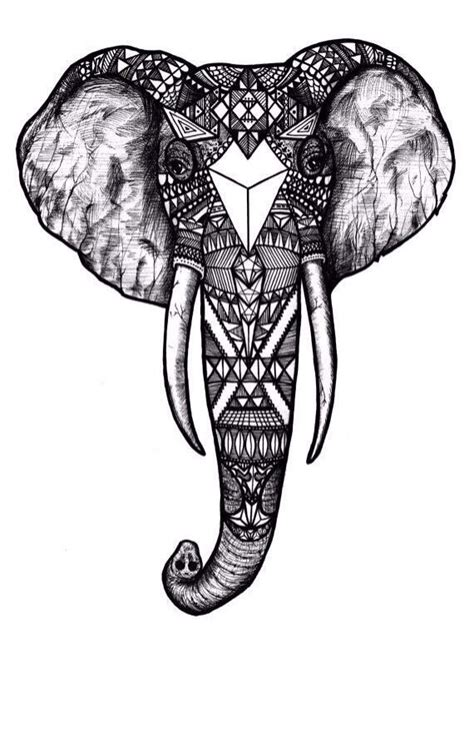 elephant coloring pages aztec designs aztec elephant tattoos pinterest tribal elephant