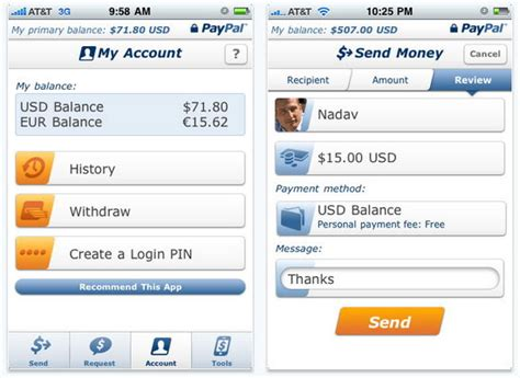 paypal mobile application transfer paypal money easily by bumping two iphones together