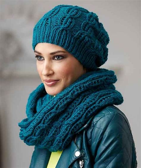 ravelry s8636 hat and loop scarf with lace pattern