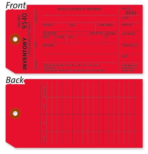 Inventory Tag 500 Pack Sku T401 R C1 500 Inventory Count Tags Template