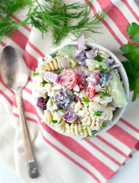 creamy pasta salad favehealthyrecipes com light and creamy greek pasta salad favehealthyrecipes com