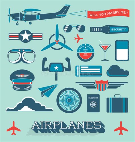Airline Time Table Collection by Vector Set Airplanes And Flight Icons And Objects Stock