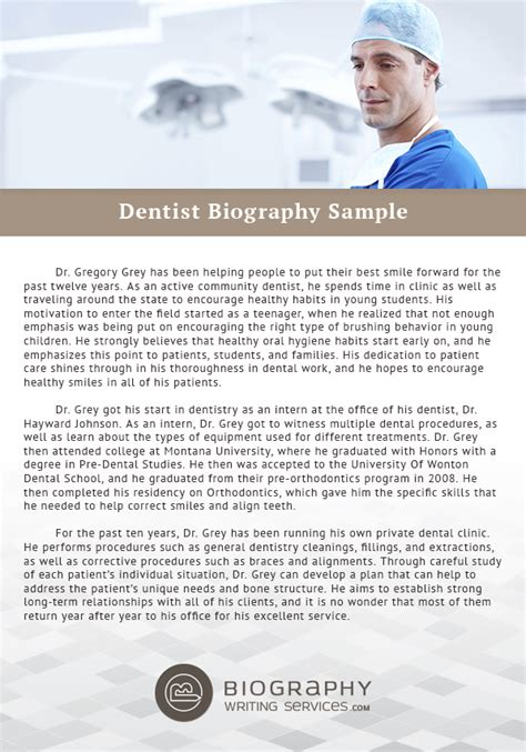 dentist biography template dentist biography template gallery free templates ideas