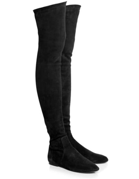 thigh high flat leather boots tsaa heel