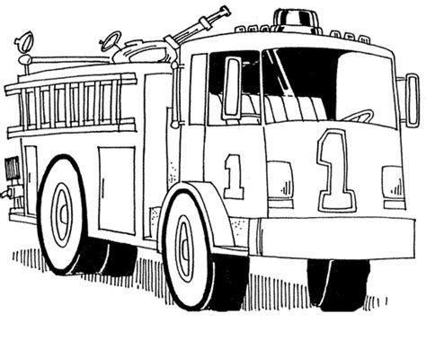 free printable fire truck with 2 person coloring pages for