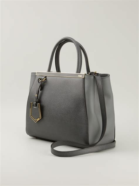 Fendi 2jours Tricolours lyst fendi 2jours tote in gray