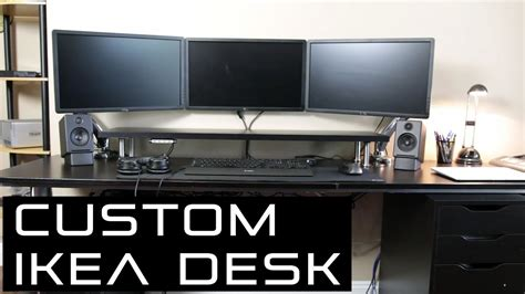 ikea custom computer desk my custom ikea desk setup 2017 work gaming diy