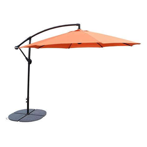 4 Ft Patio Umbrella 10 Ft Cantilever Patio Umbrella In Burnt Orange And 4 Cast Polyresin Patio Umbrella Base