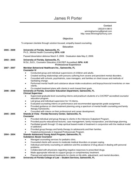 mental health counselor resume objective resume template exle