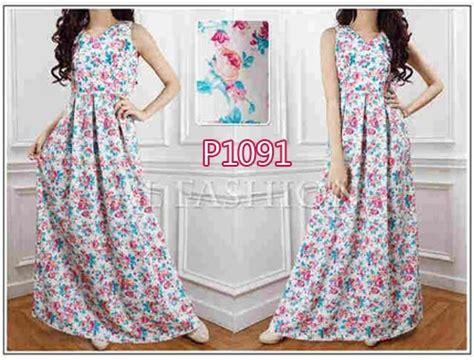 Maxy Bunga Kecil baju muslim cantik tika maxi p1091 gaun dress