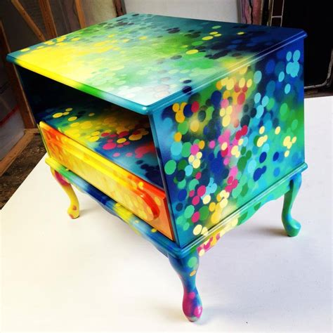 Dining Room Credenza nightstand bedside table graffiti painting artwork on