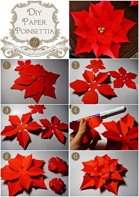diy paper poinsettia free template carta forbici gatto