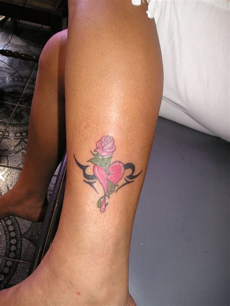 heart and rose tattoo by crazyraj on deviantart
