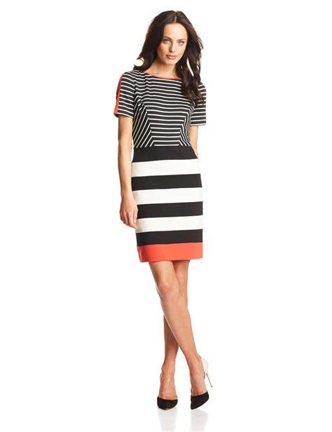 Striped Sleeve Sheath Dress women s sleeve striped sheath dress
