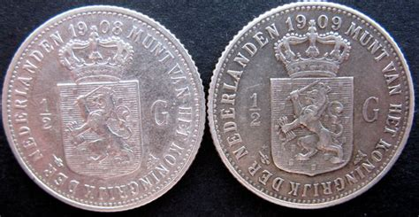Coin Nederlands Silver 1909 the netherlands 189 guilders 1908 and 1909 wilhelmina