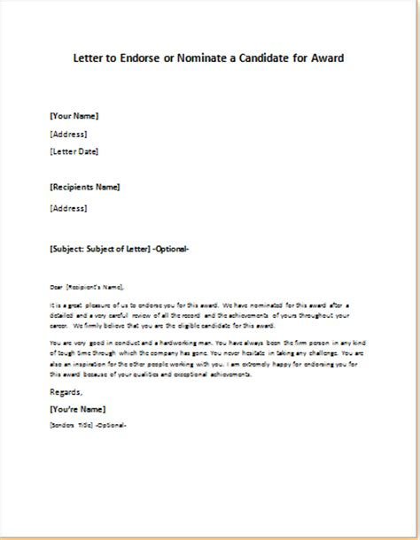Exle Of Letter Of Endorsement For Award Award Endorsement Letter Writeletter2