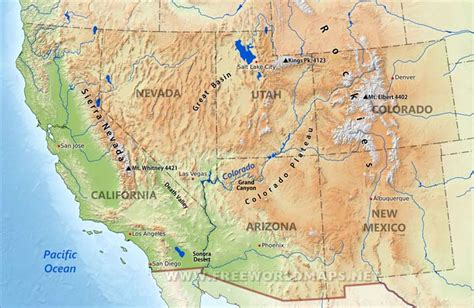 map southwest usa southwestern us physical map