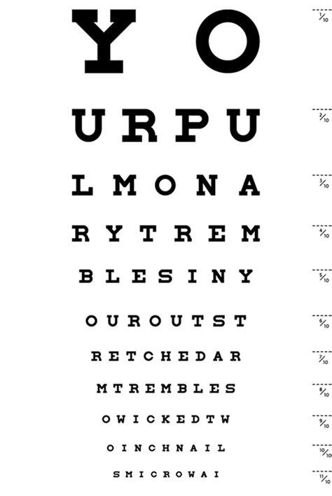 tabella lettere oculista test della vista prova optometrica ottica lorenza