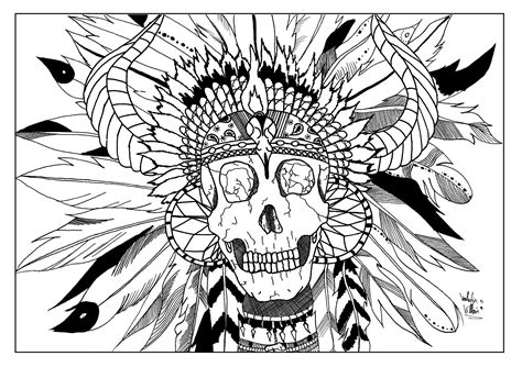 coloring book for adults india skull indian par valentin american coloring