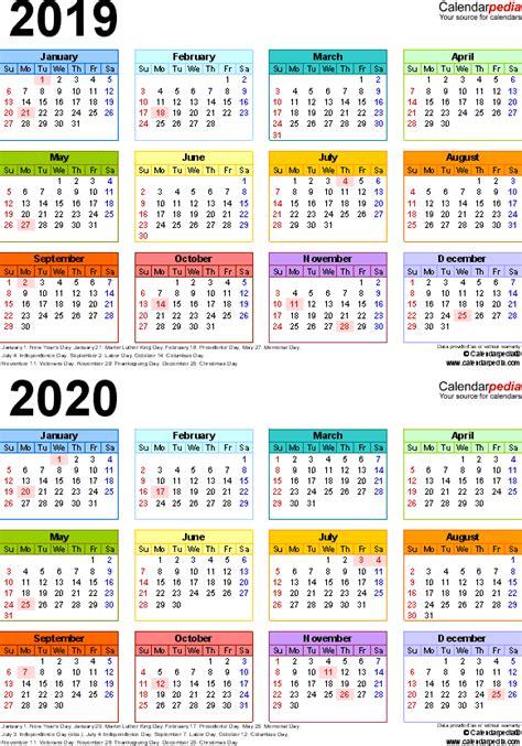 Calendar 2019 And 2020 2019 2020 Calendar Free Printable Two Year Pdf Calendars