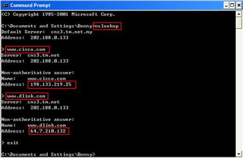 mouse  menggunakan nslookup  cek domain