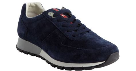 prada sneakers blue lyst prada blue suede lace up sneakers in blue for