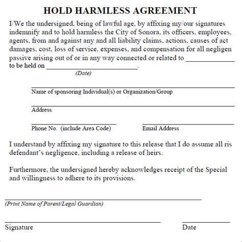 hold harmless waiver template hold harmless agreement 7 free pdf doc