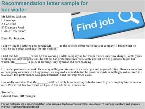 Recommendation Letter For A Waitress Bar Waiter Recommendation Letter
