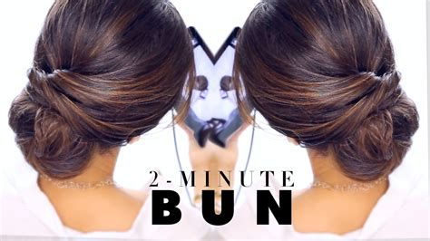2 minute bun hairstyle easy updo hairstyles