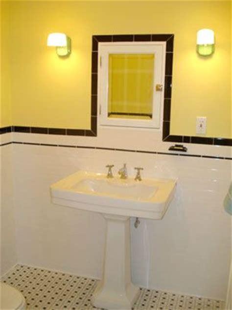 Black And Yellow Bathroom Tile Black And White Tile Yellow Walls Vintage Tile Bath