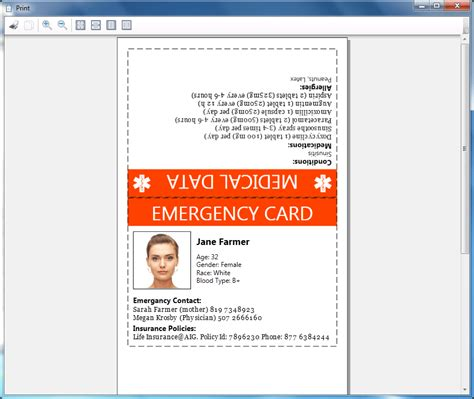 printable emergency card template how to print emergency card goopatient