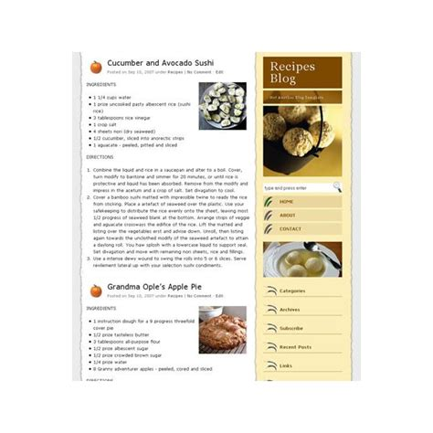 recipe templates for blogger 6 free wordpress templates for your food cooking or