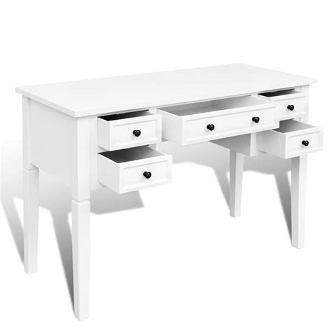 White Writing Table by Vidaxl Co Uk White Writing Desk With 5 Drawers