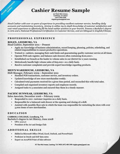 Restaurant Cashier Resume Sample – cashier experience on resume
