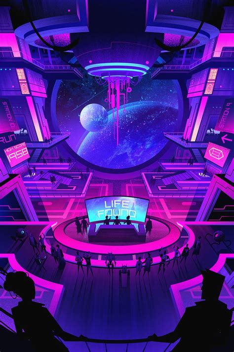 astral arcade aesthetic space futuristic art cyberpunk