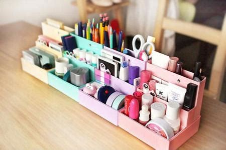 Makeup Desk Organizer Diy Paper Stationery Makeup Cosmetic Desk Organizer Storage Box 2 Colors Ebay