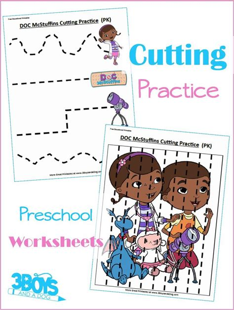 Doc Mcstuffins Worksheets by Doc Mcstuffins Preschool Cutting Practice 3 Boys And A