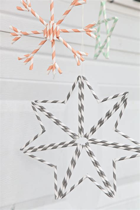How To Make Paper Snowflake Ornaments - unify handmade how to make paper straw snowflake ornaments