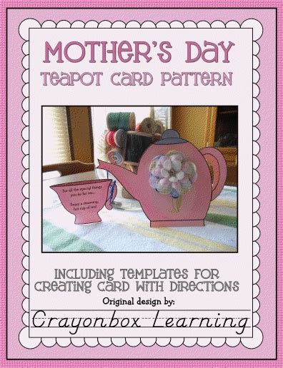 mothers card template s day teapot card template think crafts by