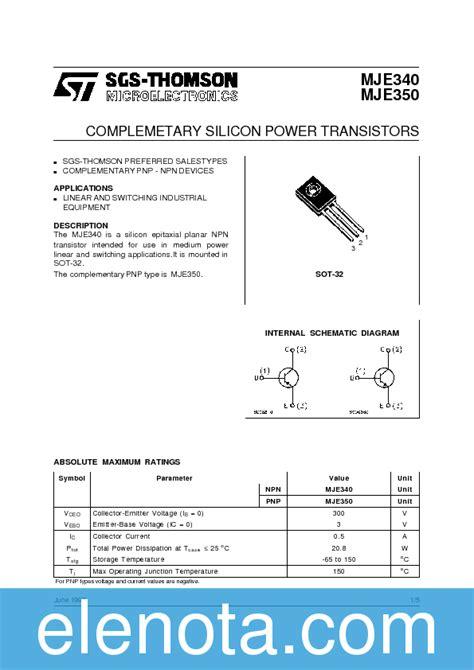 transistor mje340 datasheet mje340 datasheet pdf 66 kb stmicroelectronics pobierz z elenota pl