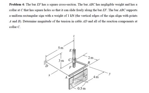 square cross section determine magnitude of the tension in cable ad and