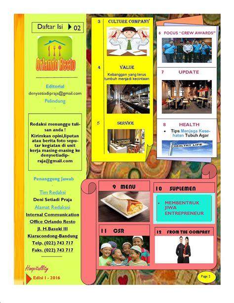 desain daftar isi majalah desain media internal house journal dan contoh majalah